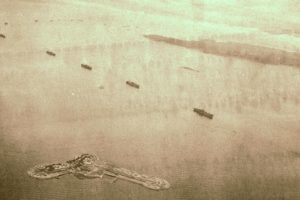 Fleet of the Allied nations and No.2 Sea Fort taken after the war.