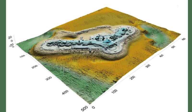 第二海堡のレーザー測量による鳥瞰図